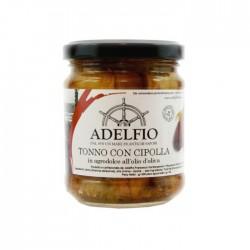 Atún con cebolla agridulce en el aceite de oliva